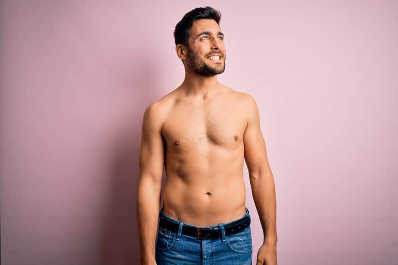 Young,Handsome,Strong,Man,With,Beard,Shirtless,Standing,Over,Isolated
